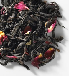tea black and pink flower
